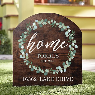 Leafy Home Wooden Outdoor Sign