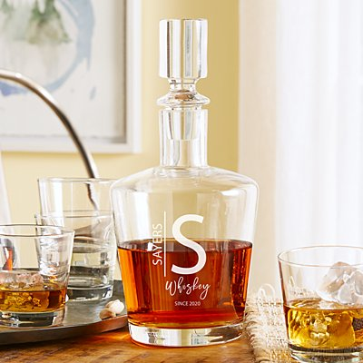 Modern Monogram Liquor Decanter Set