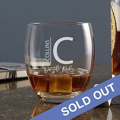 Modern Monogram Whiskey Glass + Stones