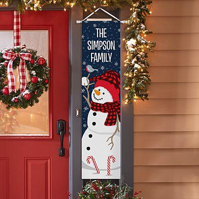 Smiling Snowman Door Banner