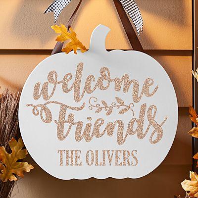 Welcome Friends Pumpkin Hanging Wood Sign