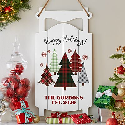 Winter Magic Holiday Sled Hanging Wood Wall Art
