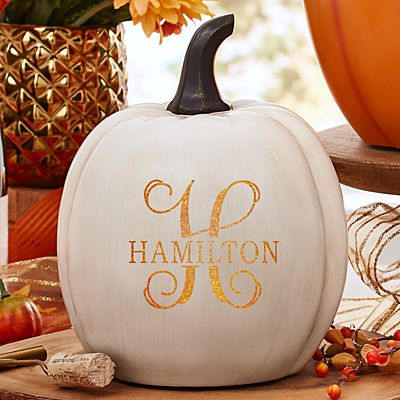 Light-Up Name & Initial XL Cream Pumpkin