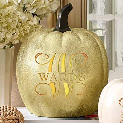 Light-Up Gold Glitter Name & Initial Pumpkin