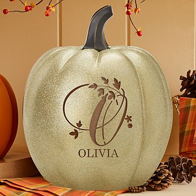 Light-Up Gold Glitter Floral Name Pumpkin