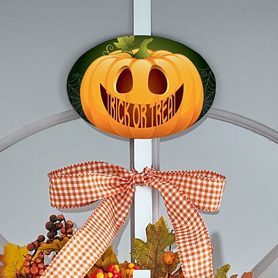 Jack-o-Lantern Wreath Holder with Plaque