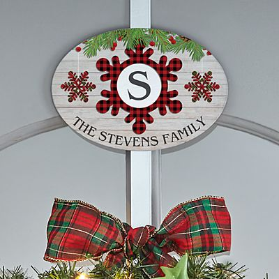 Festive Plaid Snowflake Initial Wreath Holder with Plaque