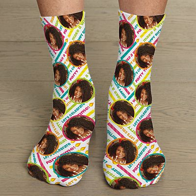 Allover Print Birthday Photo Socks