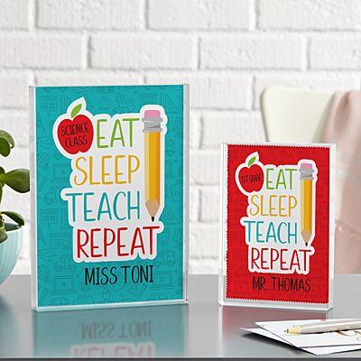 Eat, Sleep, Teach Glass Block