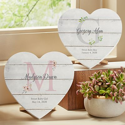 Elegant Baby Name Mini Wood Heart