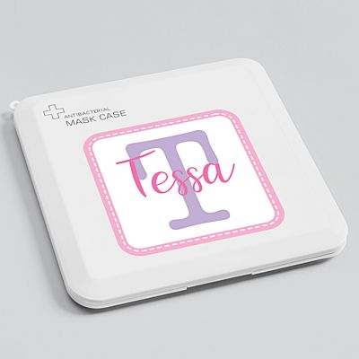Collage Name Antibacterial Face Mask Case-Pink