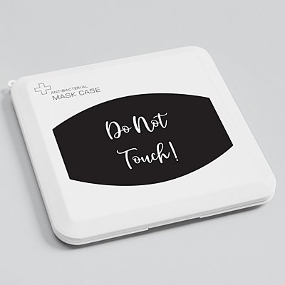 Create Your Own Antibacterial Face Mask Case - Black - White Script