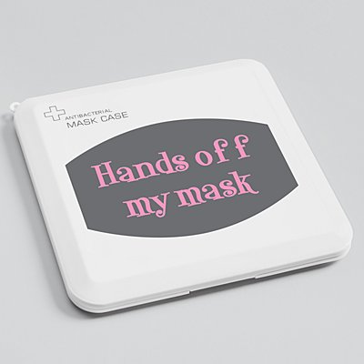 Create Your Own Antibacterial Face Mask Case - Gray - Pink Fun Serif