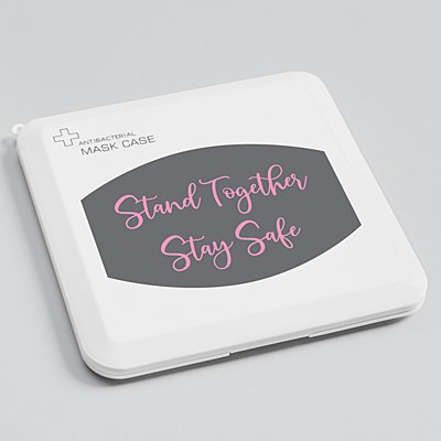 Create Your Own Antibacterial Face Mask Case Gray - Pink Script