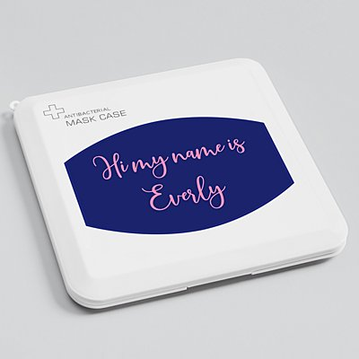 Create Your Own Antibacterial Face Mask Case - Navy - Pink Script