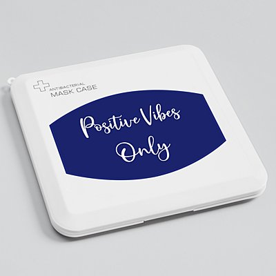 Create Your Own Antibacterial Face Mask Case - Navy - White Script