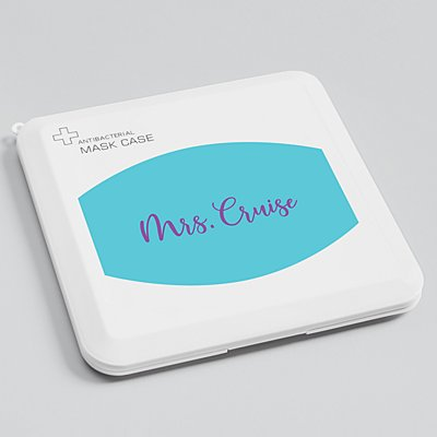 Create Your Own Antibacterial Face Mask Case - Teal - Purple Script