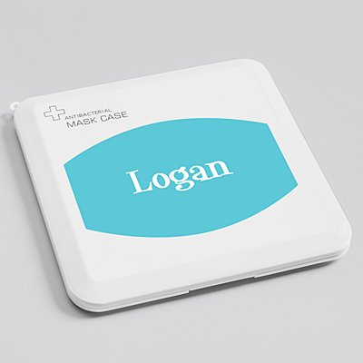Create Your Own Antibacterial Face Mask Case - Teal - White Fun Serif