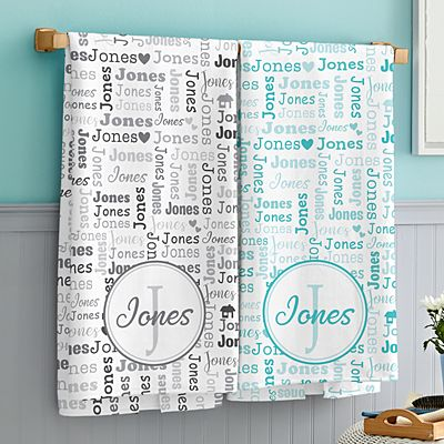 Family Name Collage Bath Towels