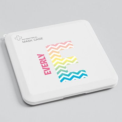 Pretty Pattern Antibacterial Face Mask Case - Rainbow Chevron