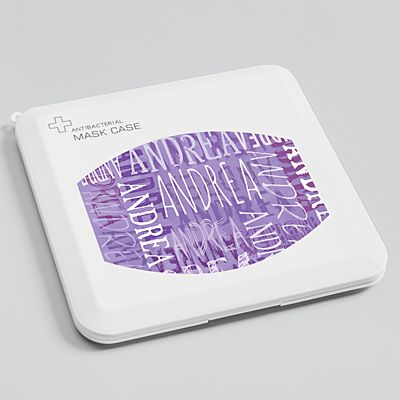 Signature Style Antibacterial Face Mask Case - Purple
