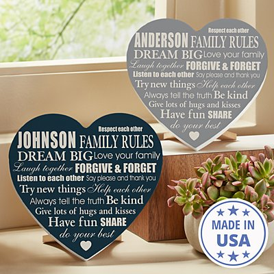 Family Rules Mini Wood Heart