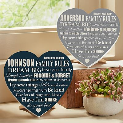Family Rules Mini Wooden Heart