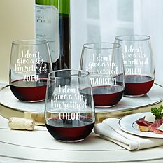 Don't Give a Sip Stemless Wine Glasses