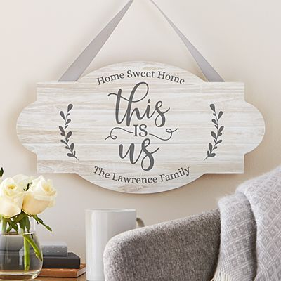 Floral This Is Us Wood Hanging Sign