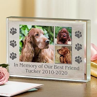 In Loving Memory Pet Photo Glass Block