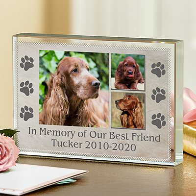 In Loving Memory Pet Photo Glass Block
