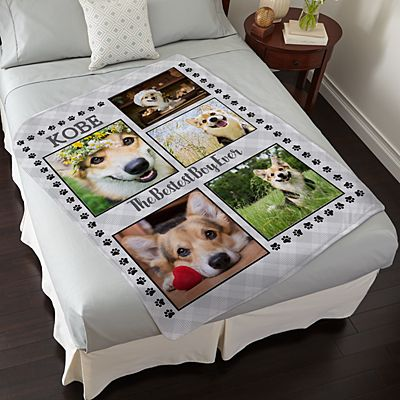 Paw Print Photo Plush Blanket