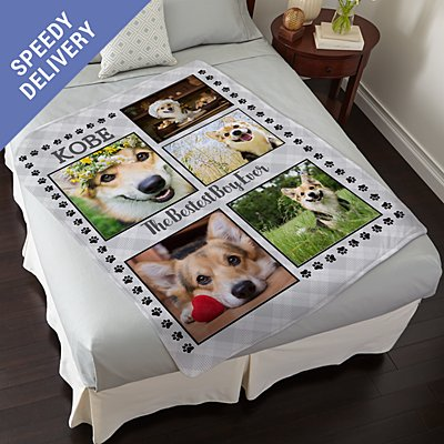 Paw Print Photo Plush Blanket