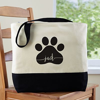 Paw Print Name Zippered Tote Bag