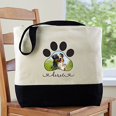 Paw Print Photo Zippered Tote Bag