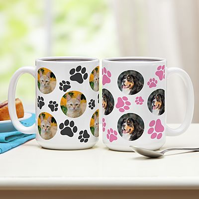 Pet Paw Print Photo Mug