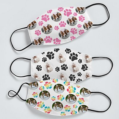 Pet Paw Print Photo Face Mask