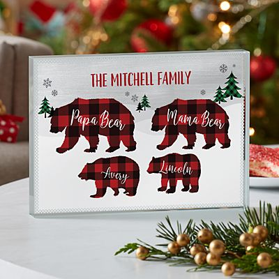 Beary Merry Family  Glass Block