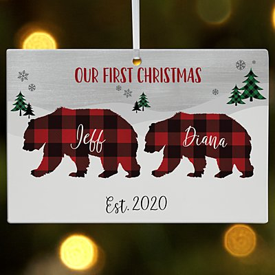 Beary Merry Couple Rectangle Bauble
