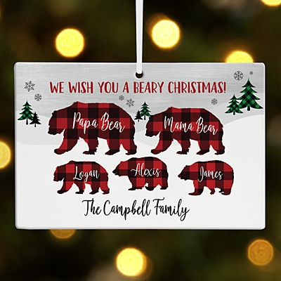 Beary Merry Family Rectangle Ornament
