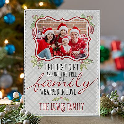 Christmas Greetings Photo Glass Block