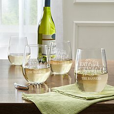 Eat, Drink & Be Thankful Stemless Wine Glass
