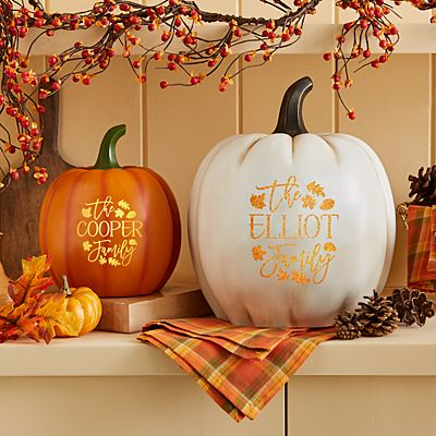 Falling Leaves Light-Up Pumpkin