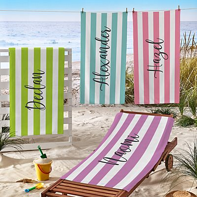 Striped Name Beach Towel