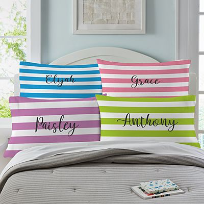 Striped Name Pillowcase