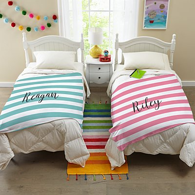 Striped Name Plush Blanket