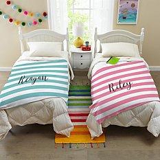Striped Name Plush Blanket