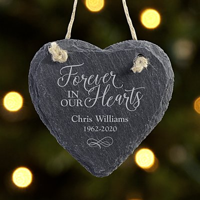 Always and Forever Memorial Heart Slate Ornament