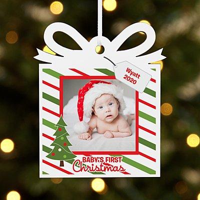 Baby's First Christmas Photo Present Ornament