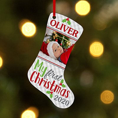 Baby's First Christmas Photo Stocking Ornament